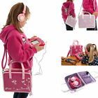 Girls Travel Vinyl PU Handbag Storage Case with Headphones for Apple iPad Air 2