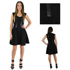 Jessica Simpson Women's Fit and Flare Skater Dress with Faux Leather