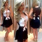 New Womens Mesh Insert Bodycon Cocktail Sexy Sheer Sleeveless Crochet Mini Dress