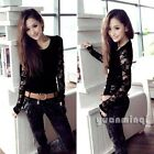 Fashion Women Long Sleeve Lace Floral Sheer Punk T-Shirt Tee Top Blouse Black