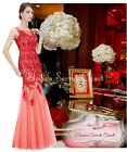 BNWT JORDAN 20's Gatsby Red Lace Applique Maxi Prom Evening Dress Sizes 6 - 18