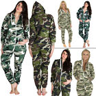 Unisex Mens Camouflage Womens All In One Ladies Fleece Jumpsuit Nightwear S M L