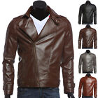 VINTAGE 2015 Korean Men Motorcycle Goth Slim Winter Leather Coat Jacket Overcoat