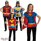 FANCY DRESS COSTUME ~ LADIES DC COMIC SUPERHERO T-SHIRT TOP WITH CAPE SIZE 8-18