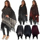Ladies Womens Knitted Fair Isle Patterned Stylish Shawl - One Size UK 8 to 14