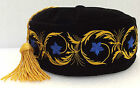 Imperial smoking hat Cap tassel NEW Choice of size Black with Royal Blue flowers