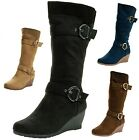 Womens Wedge Heel Boots Fashion Strap Gold Buckle Micro Suede Zippered Shoes New