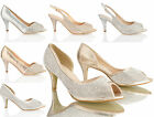 WOMENS LADIES LOW KITTEN HEEL GLITTER DIAMANTE PEEP TOE PARTY WEDDING SHOES SIZE