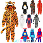 Boys Supersoft All In One Fleece Onezee Nightwear Kids Novelty Bodysuit Age 7-13