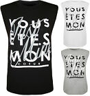 New Womens French Text Print Sleeveless Round Neck Ladies T-Shirt Top 8 - 14