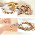 Sweet Women Girls Four Leaf Clover PU Leather Rope Sweet Pearl Chain Bracelet
