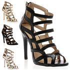 New Ladies Strappy Womens Slim Stiletto High Heel Party Sandals Shoes Size 3-8