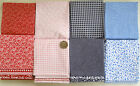 6 MIXED COTTON FAT QUARTERS - BUNDLE - 2 PAISLEY, 2 FLORAL, 1 GINGHAM, 1 SPOT