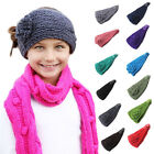 Girl's Knitted Wool Crochet Elastic Flower Hair Headband Ribbon Wash Headwrap