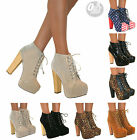 WOMENS ANKLE BOOTS WOODEN BLOCK HIGH HEEL PLATFORM SHOES LACE UP SIZE BOOTIES