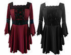 BLACK/RED GOTHIC MEDIEVAL WENCH WITCH HALLOWEEN VAMPIRE TOP SIZE 10-24 PLUS SIZE