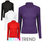 WOMENS STRETCH RIB POLO NECK TOP LADIES LONG SLEEVE ROLL NECK JUMPER TOP 8-14