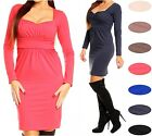 Glamour Empire Women's Long Sleeve Front Ruched Dress 319