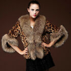 Luxury Women Leopard Faux Fox Fur Coat Winter Warmer Lady Jacket Parka Overcoat