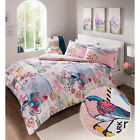 Be Fabulous! Pink & Blue Tea Party Duvet Cover In Vintage Florals And Birds