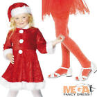 Mini Miss Santa + Red Tights Girls Christmas Fancy Dress Childs Costume Outfit