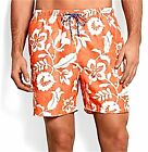 "Mens $58 TOMMY BAHAMA 3 Pocket NAPLES BLOOM  6"" SWIM SUIT TRUNKS Orange Blast"