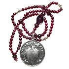 Handmade HEART NECKLACE - large silver medal, silver and garnet beads