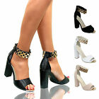 WOMENS PEEP TOE GOLD ANKLE CHAIN CUFF HIGH BLOCK HEELS STRAPPY SANDALS SHOES ZIP