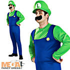 Luigi Super Mario Mens Fancy Dress 80s Adult Video Game 1980s Costume + Hat
