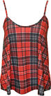 New Womens Tartan Check Print Pattern Strappy Sleeveless Ladies Vest Top 8-14