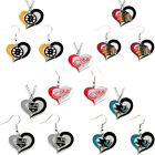 swirl heart necklace earring set charm NHL PICK YOUR TEAM