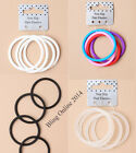 NEW 4pc SILICONE NON SLIP HAIR ELASTICS 4cm PONY TAIL BANDS BLACK WHITE OR CLEAR