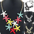 Women Chic Charming Punk Starfish Pendant Metal Chunky Chain Statement Necklace