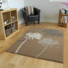 Brown, Beige and Grey Dandelion Rug Plain Muted Contemporary Soft Milan Area Mat