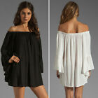 Sexy Women Off Shoulder Loose Chiffon Casual Cocktail Club Mini Novelty Dress