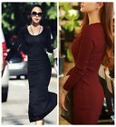 Autumn Winter Women Evening Party Knit Casual Slit Bodycon Long Dress Burgundy