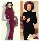 Autumn Winter Women Turtleneck Casual Bodycon Evening Cocktail Party Long Dress