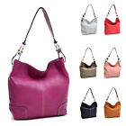 Women Faux Leather Handbag Corner Patched Hobo Bag Magnetic Closure Shoulder Bag