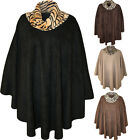 New Womens Plus Animal Leopard Print Cowl Neck Ladies Poncho Cape Coat One Size