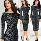 Leopard Print Women Ladies Sexy Clubwear Bodycon Zipper Sleeve Pencil Midi Dress