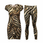 Girls Midi Dress Bodycon Kids Legging Stretch Leopard Cap Sleeved Summer New