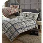 Tartan Check Duvet Cover Set With Modern Linear Stripes – 2 In 1 Reversible