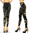 Camouflage Leggings Army Green Faux Leather Brushed Knit Leggings Size S/M L/XL