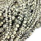 "Wholesale Smooth Natural Dalmatian Jasper Round Bead Spacer 15"" 4mm 6mm 8mm 10mm"