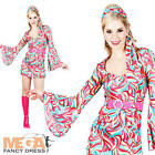 Hot Pink Swirl Hippy Ladies Fancy Dress Hippie Costume