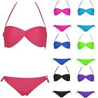 Girl Halter Twisted Push-up Padded Bra Swimsuit Swimwear Beachwear Bikini S-L