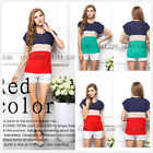 Womens Summer Casual Chiffon Assorted Colors Top Short Sleeve Loose Shirt Blouse