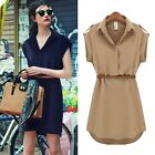 Fashion Vintage Lapel Womens Belted Shirt Mini Party Dress Clubwear Cocktail J