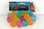 PACK OF 20 PLASTIC ASSORTED COLOURED COOL REUSABLE ICE CUBES - FOR COLD DRINKS