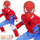 Muscle Spiderman + Mask Boys Fancy Dress Superhero Kids Childrens Costume Outfit